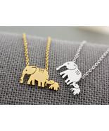 Two Elephant Necklace, Mother and Baby Elephant necklace, Elephant Jewel... - $12.00