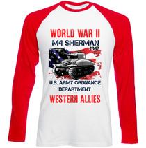 American M4 Sherman - Tank Ww Ii - New Red Sleeved Tshirt - $27.61