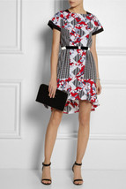 Peter Pilotto Fluted Crepe Shirt Dress w/ Belt - Red/White/Black Colorblock - $27.47