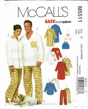 McCALLS PATTERN 5511 NIGHTSHIRTS PANTS AND TOP FOR DOG SIZE Y (XSM-MED) - $5.00