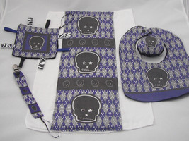 5 Pc Baby Gift Set Burp Cloth Bib Lovey Pacifier Clip Rattle Blue Plaid ... - $30.99