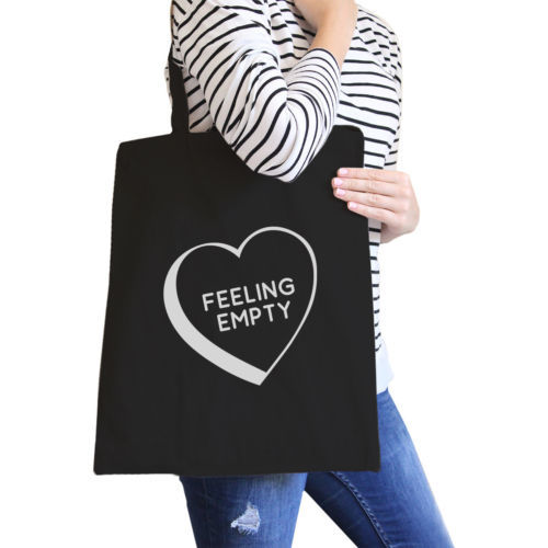 Primary image for Feeling Empty Heart Black Cute Canvas Tote Bag Unique Graphic