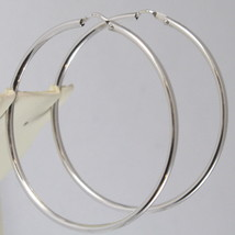 18K WHITE GOLD CIRCLE EARRINGS HOOP, TUBE, DIAMETER 1.61 In MADE IN ITALY image 1