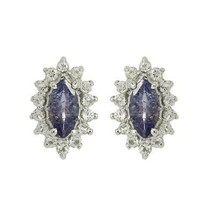 925 Sterling Silver Marquise Tanzanite Accent With White Topaz Stud - $26.94