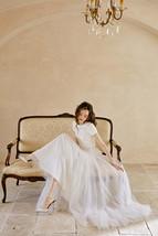 Rose Pink Wedding Tulle Skirt with Train Wedding Tulle Skirt Tulle Bridal Tutu image 7
