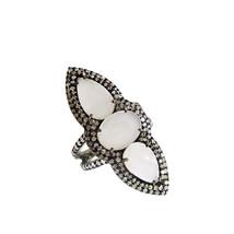 pave diamond Ring Diamond White Moonstone Designer Silver Wedding Jewelr... - $170.28