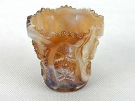 Vintage Toothpick Holder, Imperial Glass, Carmel & White, Hobstar, #TPK-B10 - $14.65