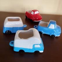 Vehicle Planters, set of 4 ceramic plant pots, RV Camper Blue Red Truck, VanLife image 2