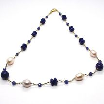 Silver necklace 925, Yellow, Blue Lapis Lazuli Disk and spheres, Pearls, 45 cm image 3