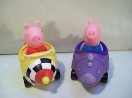 2 Peppa Pig Pigs Racer Cars George Dino Peppa Jazwares Free Wheelin Mini Buggies - $15.63