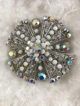 Vintage Silver Tone Clear Aurora & Milk Glass Brooch/Pendant - $45.00