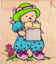 Hero Arts Bear With Kittens In Box Stamp C 740 Mounted Rubber Stamp 1992 - $3.46