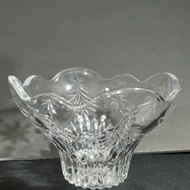 Christmas Candy Dish Bowl Crystal Mikasa Bowl Footed Trees and Stars Cle... - $19.79