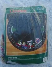 "New Vintage 1990 Bucilla 34"" Holiday Express Train Santa Christmas Felt Tree Ski - $32.95"