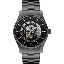 Caravelle New York By Bulova 45A121 21 Jewel Skeleton Dial Black Automat... - $94.05