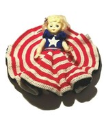 """Vintage Blonde Boudoir Doll 13""""  With Crocheted Dress Red White Blue 4th... - $49.99"""