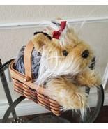 Animal Alley Yorkshire Terrier Dog Plush Stuffed Animal  in  Basket  Hal... - $17.75