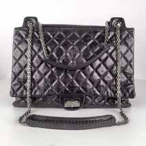 Authentic Chanel Black Quilted Leather Large Reissue 2.55 Accordion Flap Bag image 3