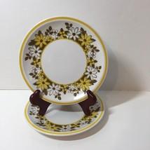 "2 Bread Plates Mikasa Cera Stone Sandra Yellow Brown Flowers 7.75"" - $14.50"