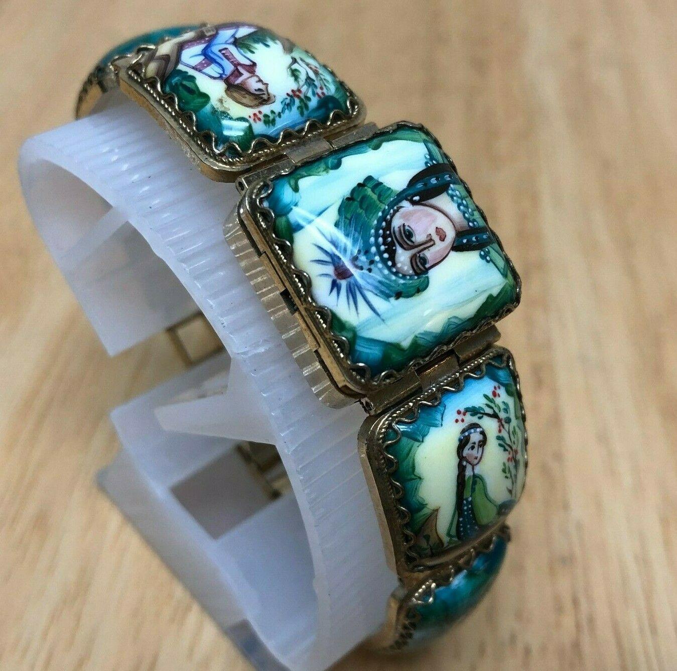Vintage Yanka Russia Lady Enamel Art Painting Hand-Winding Mechanical Watch Hour image 3