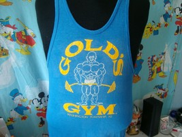 Vintage 80's Golds Gym New Jersey Blue t shirt Tank Top M  - $49.49