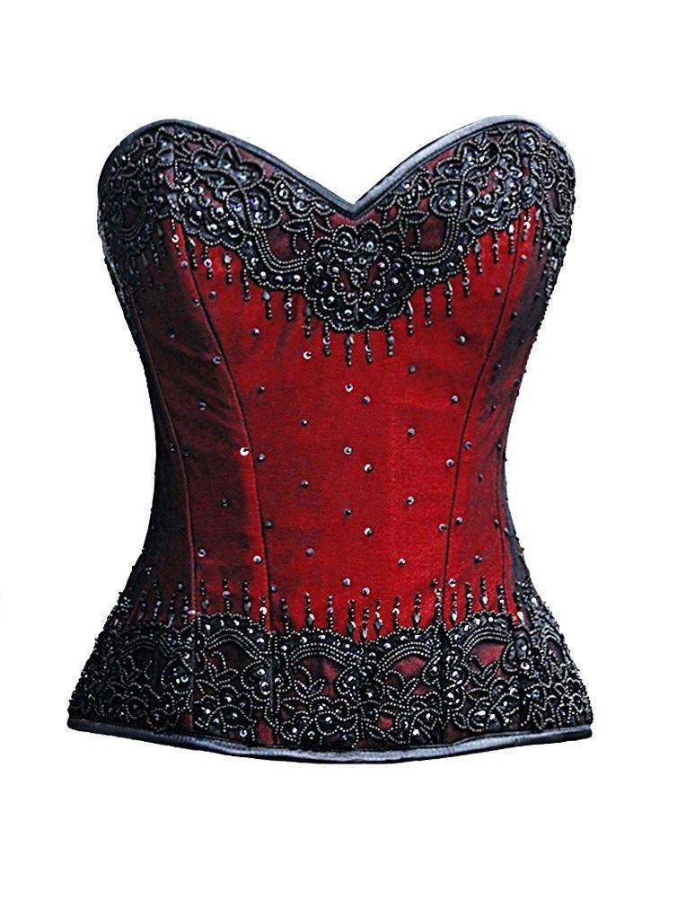 Red Satin Handmade Sequins Goth Burlesque Waist Training Bustier Overbust Corset