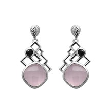 Gorgeous 925 Sterling Silver 10MM Rose Quartz Black Spinel Designer Stud... - $51.98
