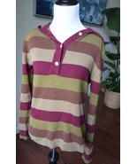 sz S Womens COLUMBIA Sweater Multi-Color Stripes Hooded Hoodie Pullover - $0.99