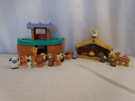 Fisher Price little people Christmas story nativity manger  + Noah's Ark... - $46.55
