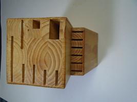 14 Slot Knife Storage Block Wood Handmade - $19.99