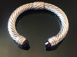 David Yurman Sterling Silver AMETHYST 10MM Cable Bracelet - $499.99