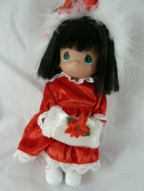 "Precious Moments Linda Rick 2001 Christmas Vinyl Doll 7"" Black hair green eyes - $9.89"