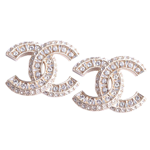 SALE* AUTHENTIC CHANEL XL LARGE CRYSTAL CC LOGO STUD GOLD EARRINGS