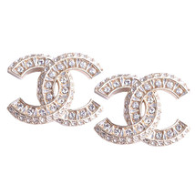 SALE* AUTHENTIC CHANEL XL LARGE CRYSTAL CC LOGO STUD GOLD EARRINGS  - $415.00