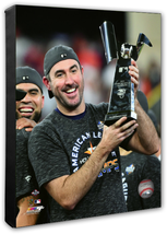 Justin Verlander with 2019 AL Champions Trophy -16x20 Photo-Stretched Canvas - $89.99