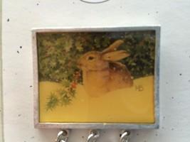 Vtg 1999 Marjolein Bastin Hallmark Lapel Pin Christmas Bunny in Snow MOC... - $9.28