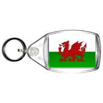 keyring double sided wales, welsh, cymbru country flag design, keychain