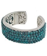 Sterling Silver with Genuine Turquoise Beads Cuff Bracelet  SALE! - $28.00