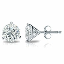 4CT Round Solid 14K White Gold Brilliant Cut Martini PushBack Stud Earrings - $209.76