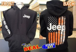 Jeep Hoodie Pullover 4x4 Offroad Black Front & Back Flag Logo - $45.99