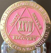 27 Year AA Medallion Pink Gold Plated Alcoholics Anonymous Sobriety Chip... - $17.99