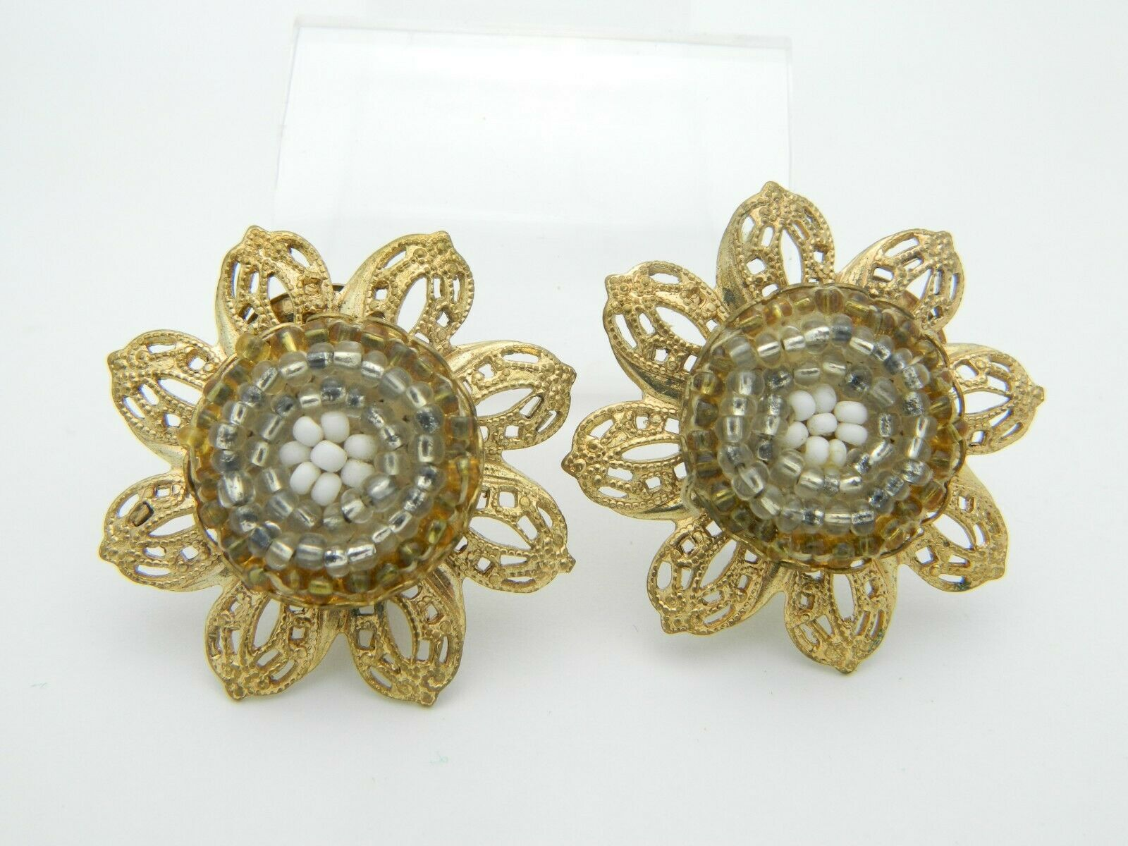 Primary image for White Silver Gold Seed Bead Ornate Open Work Gold Tone Flower Clip Earrings