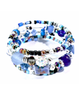 Handmade Blue Tones, Silver Boho Bracelet With A Mixture Of Beads  - $20.00