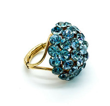 Vintage Mid Century Blue Topaz Paste Rhinestone Dome Gold Tone Ring Size... - $65.69