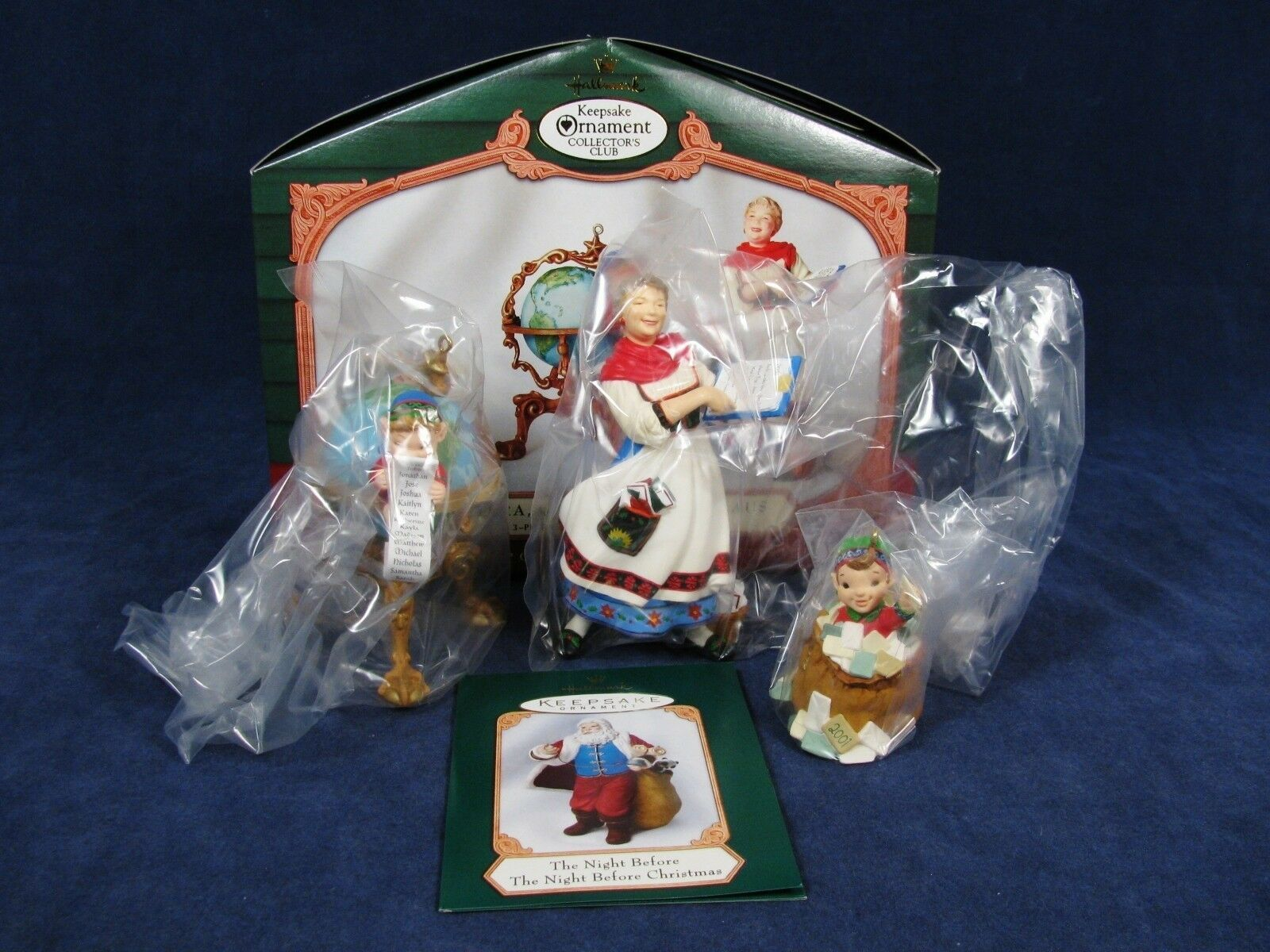 Set of 3 Hallmark Keepsake Ornament Collector's Club Lettera Globus Mrs Claus