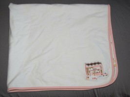 Gymboree 2006 When In Rome Baby Girl Cotton Blanket White Pink Scooter Cafe - $69.29