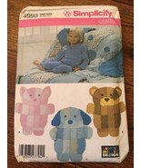 Rare Simplicity 4993 ANIMAL RAG QUILTS Throws Sewing Pattern Cat-Dog-Doggie-Bear - $48.51