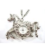 Horse Watch Pendant Necklace, Marcasite, Quartz, New Battery, Gift Idea - $28.00