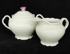 Victoria Czech Sugar Bowl w Lid and Creamer Rose Finial Ivory Scalloped ... - $29.69