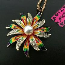 Betsy Johnson Multi-color Enamel Faux Pearl Flower Pendant/Brooch - $21.00